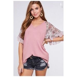 Ruffle Sleeve Relaxed Fit Hi Low Top NEW